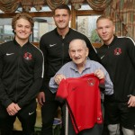 Leyton Orient players at Jewish Care's Vi and John Rubens House