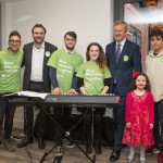Mitzvah Day Executive Director Dan Rickman, Oliver Dowden MP and Rabbi Jonny Hughes entertain the elderly at Radlett United Synagogue - picture by Michelle Becker