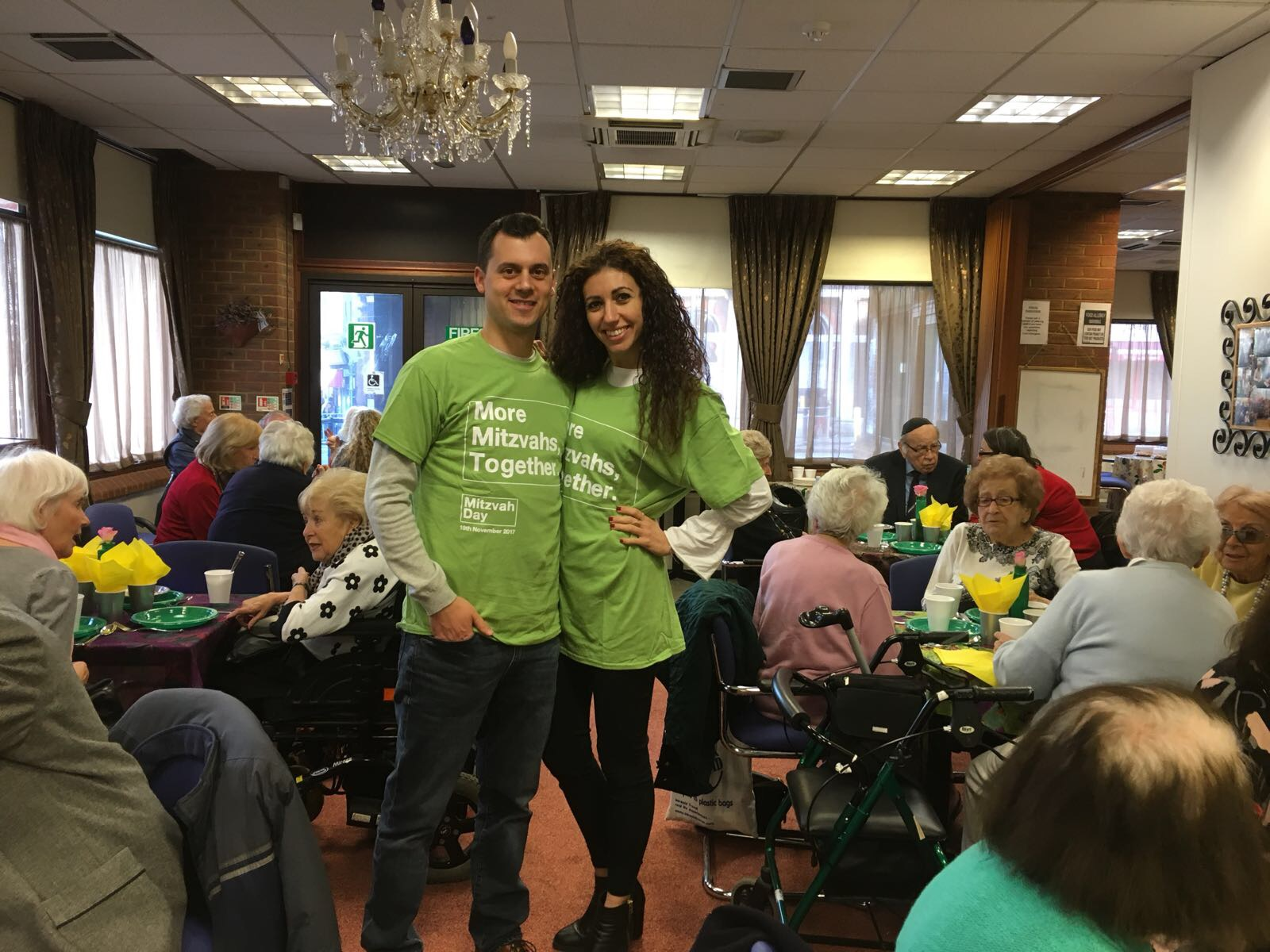 Simon Murray and Julie on Mitzvah Day at Holocaust Survivors Centre - the day after he proposed
