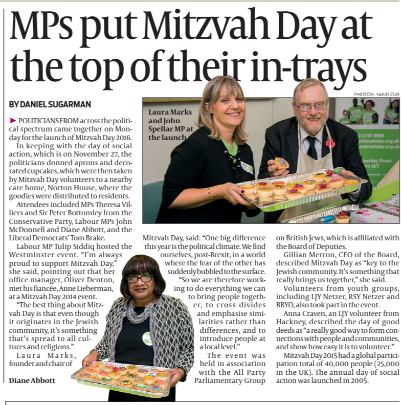 Mitzvah Day launch in the Jewish Chronicle