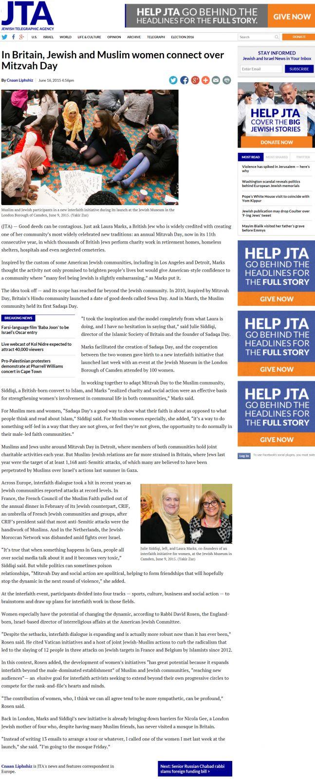 June 2015 - Mitzvah Day interfaith work on Jewish Telegraphic Agency