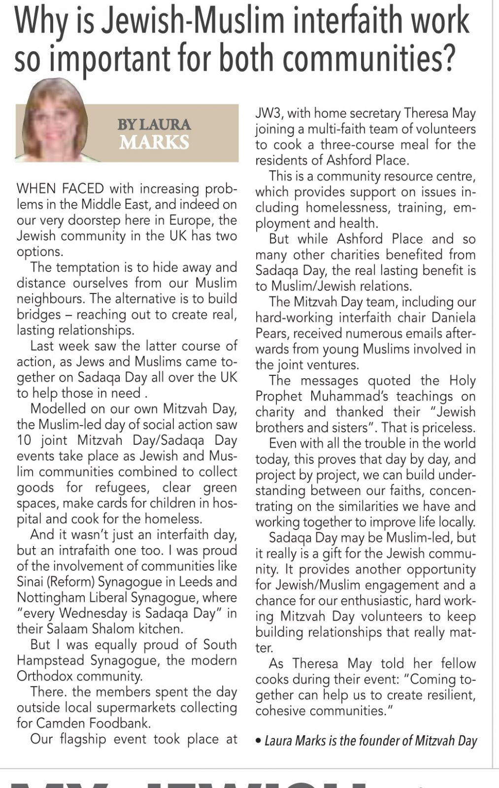 March 2016 - Mitzvah Day founder Laura Marks commentary in The Jewish News