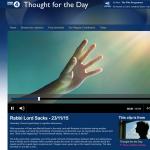 November 2015 - Lord Sacks on BBC Radio 4