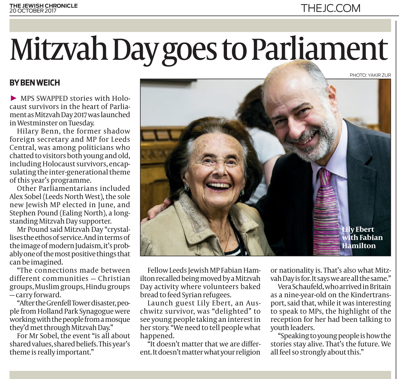 Parliamentary tea party in the Jewish Chronicle