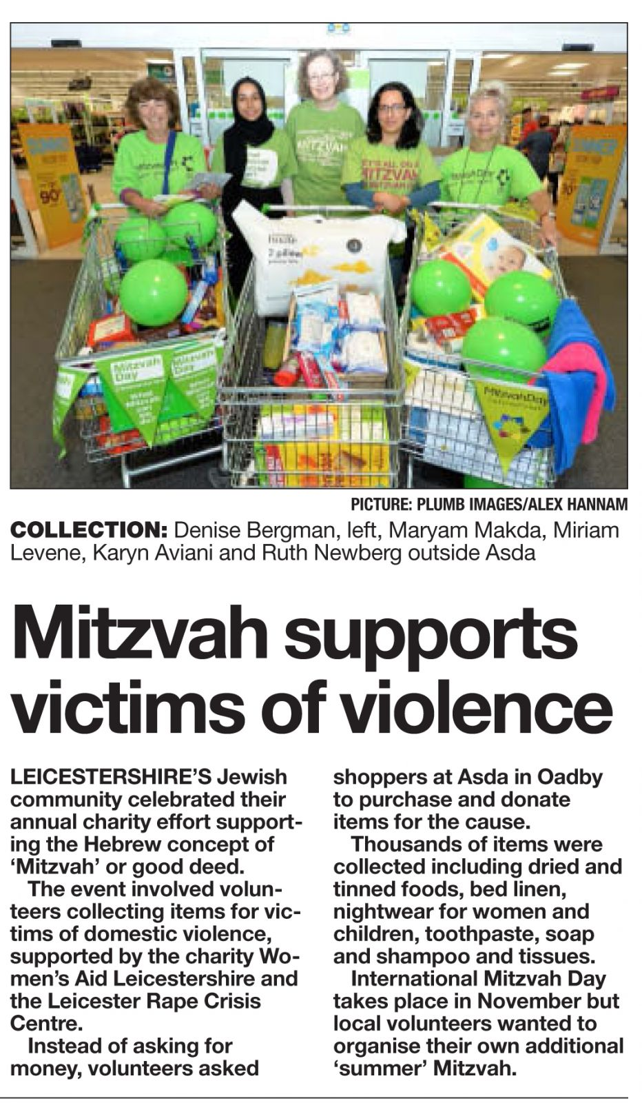 Mitzvah Day volunteers supporting domestic violence victims, covered by Leicester Mercury