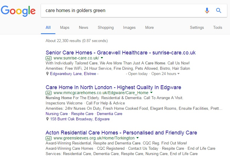 Care homes in Golders Green