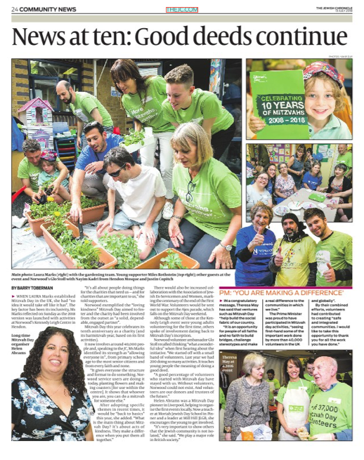 Mitzvah Day launch in the Jewish-Chroncile