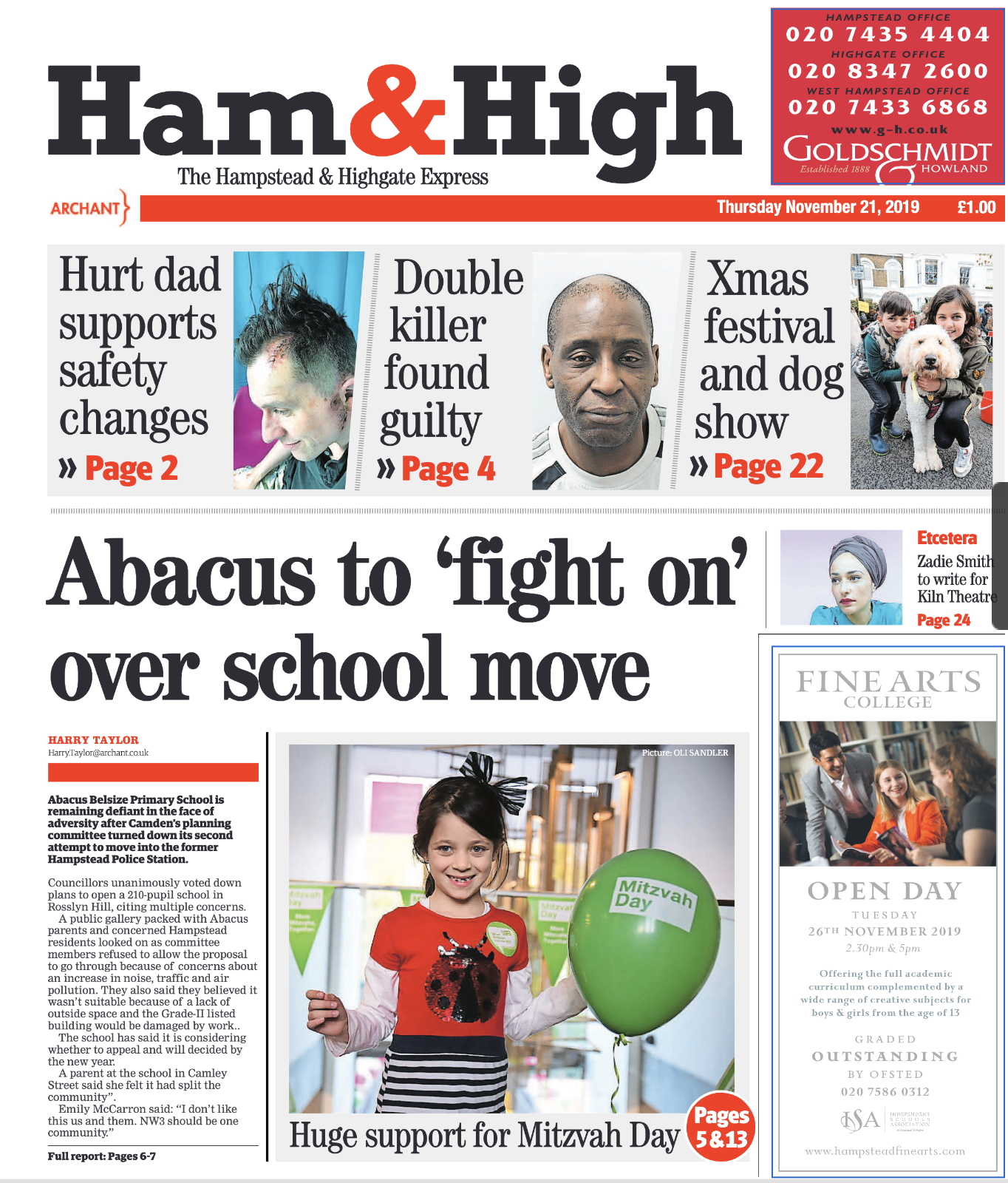 Front page of the Ham & High