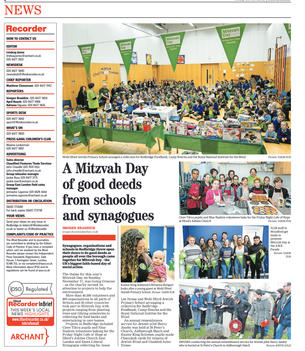 Mitzvah Day special in the Ilford Recorder