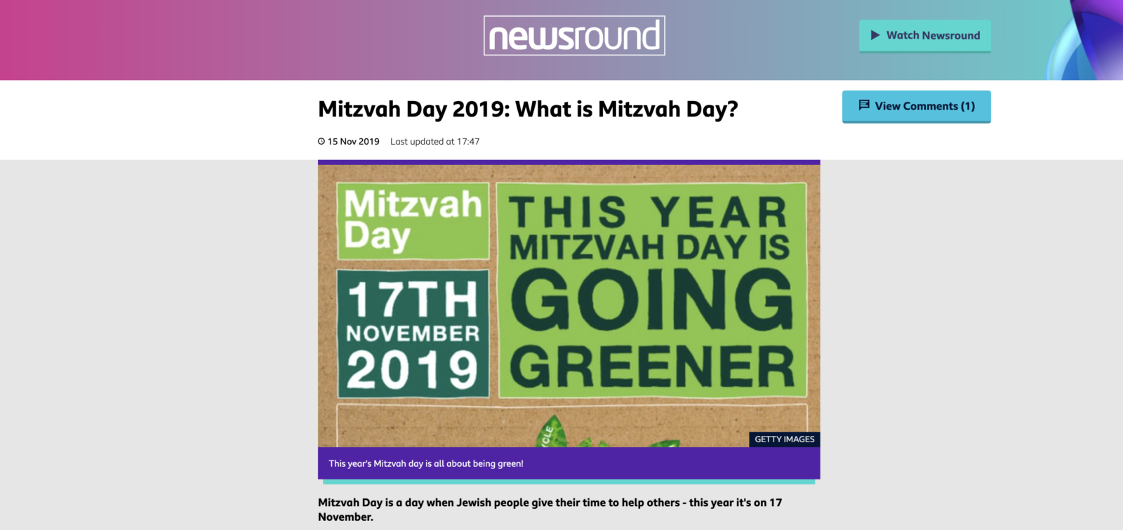 A special Mitzvah Day report on BBC Newsround