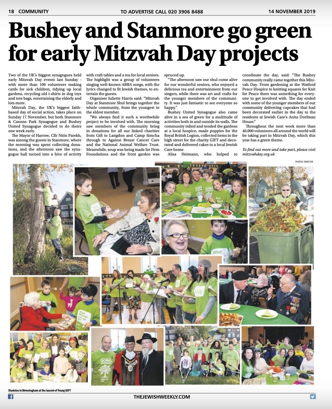Coverage in the Jewish Weekly
