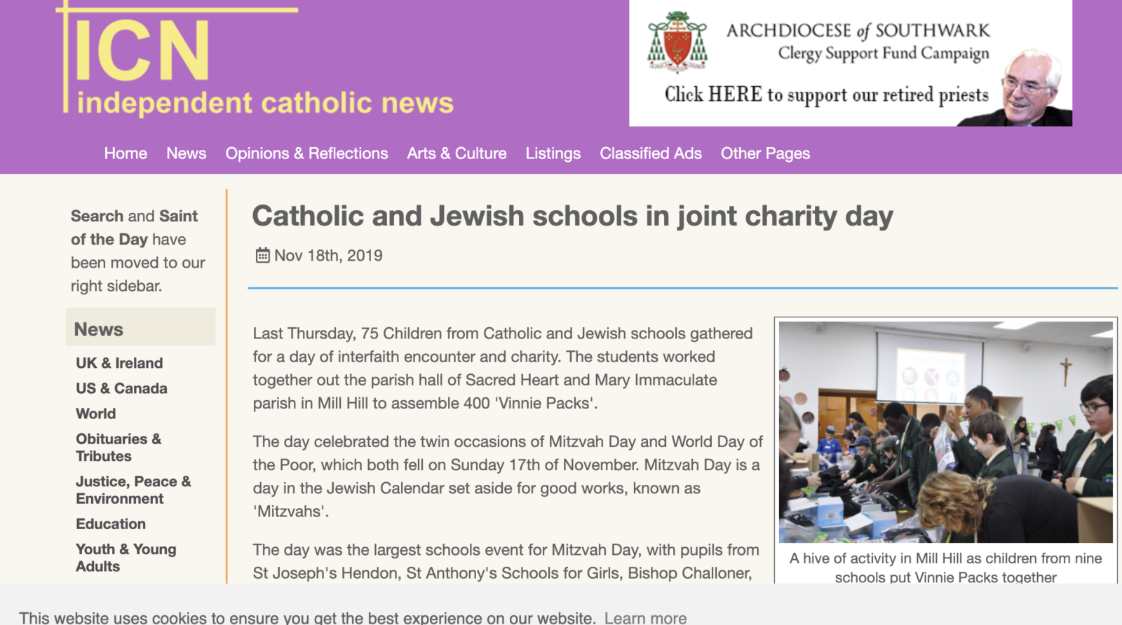 Schools project covered by Independent Catholic News